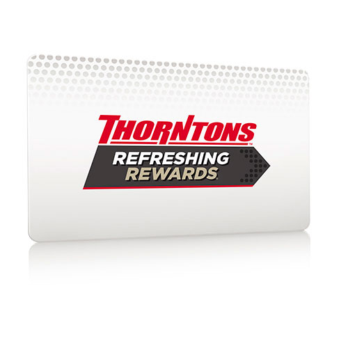 Use your Refreshing Rewards card at your local Thornton's for your chance to win!